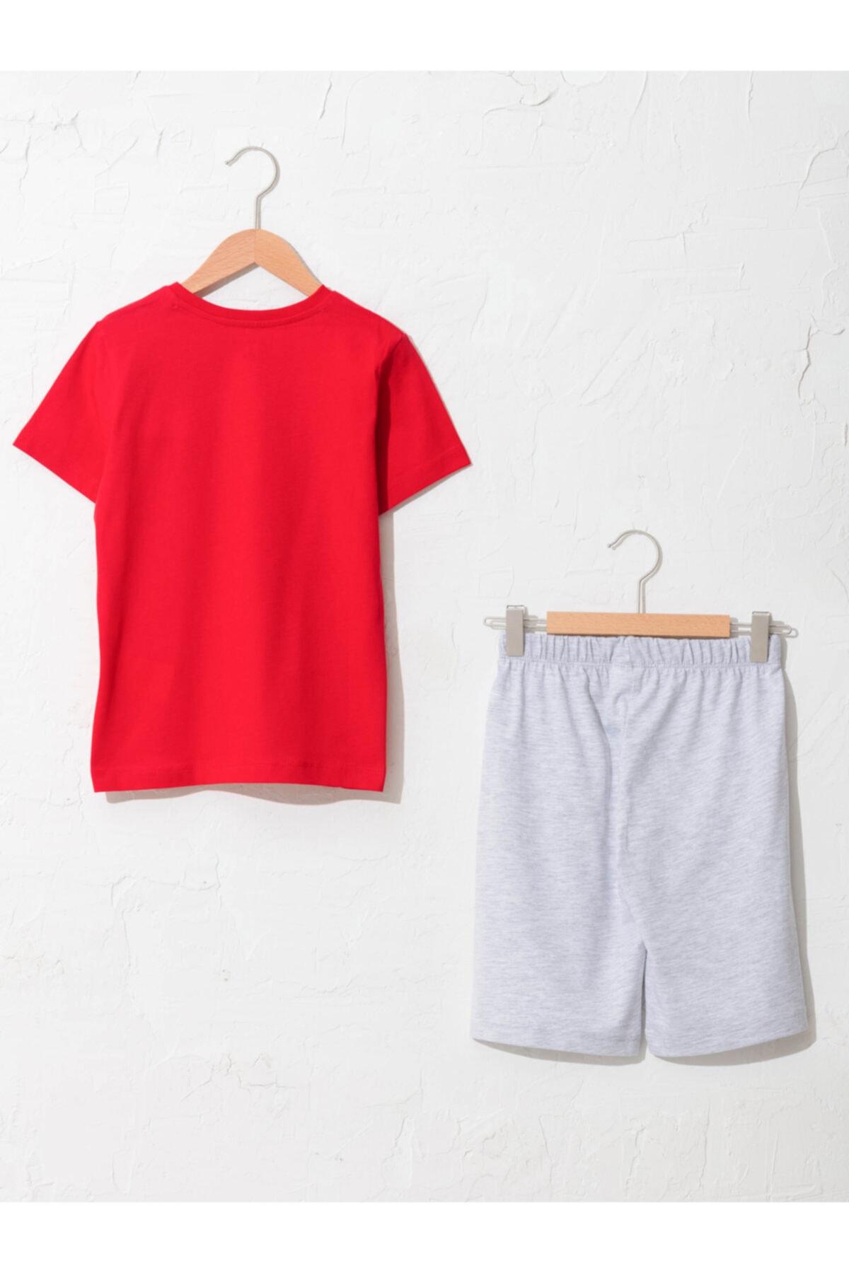 LC Waikiki Erkek Çocuk Kırmızı Baskılı Pijama Takımı 2