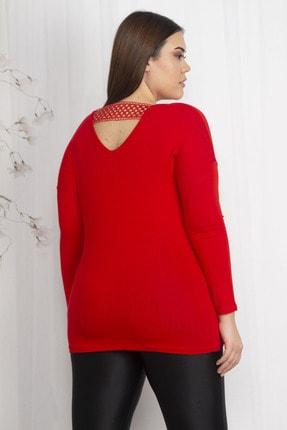 Şans Kadın Kırmızı Sırt Detaylı Viskon Bluz 65N22359
