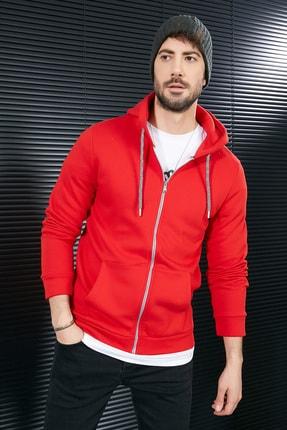 Sateen Men Erkek Kırmızı Kanguru Cep Fermuarlı Sweatshirt