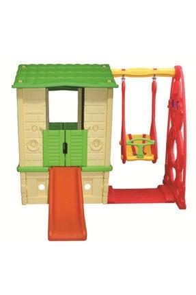KingKids King Kids Kaydıraklı Salıncaklı Ev Krem/yeşil
