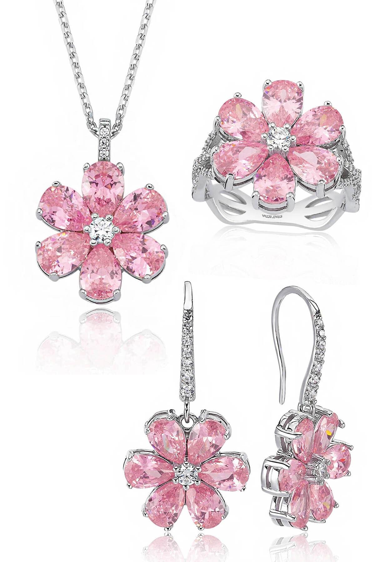 Valori Jewels 12 Karat Zirkon Pembe Damla Taşlı, Manolya Çiçek Gümüş Set 1