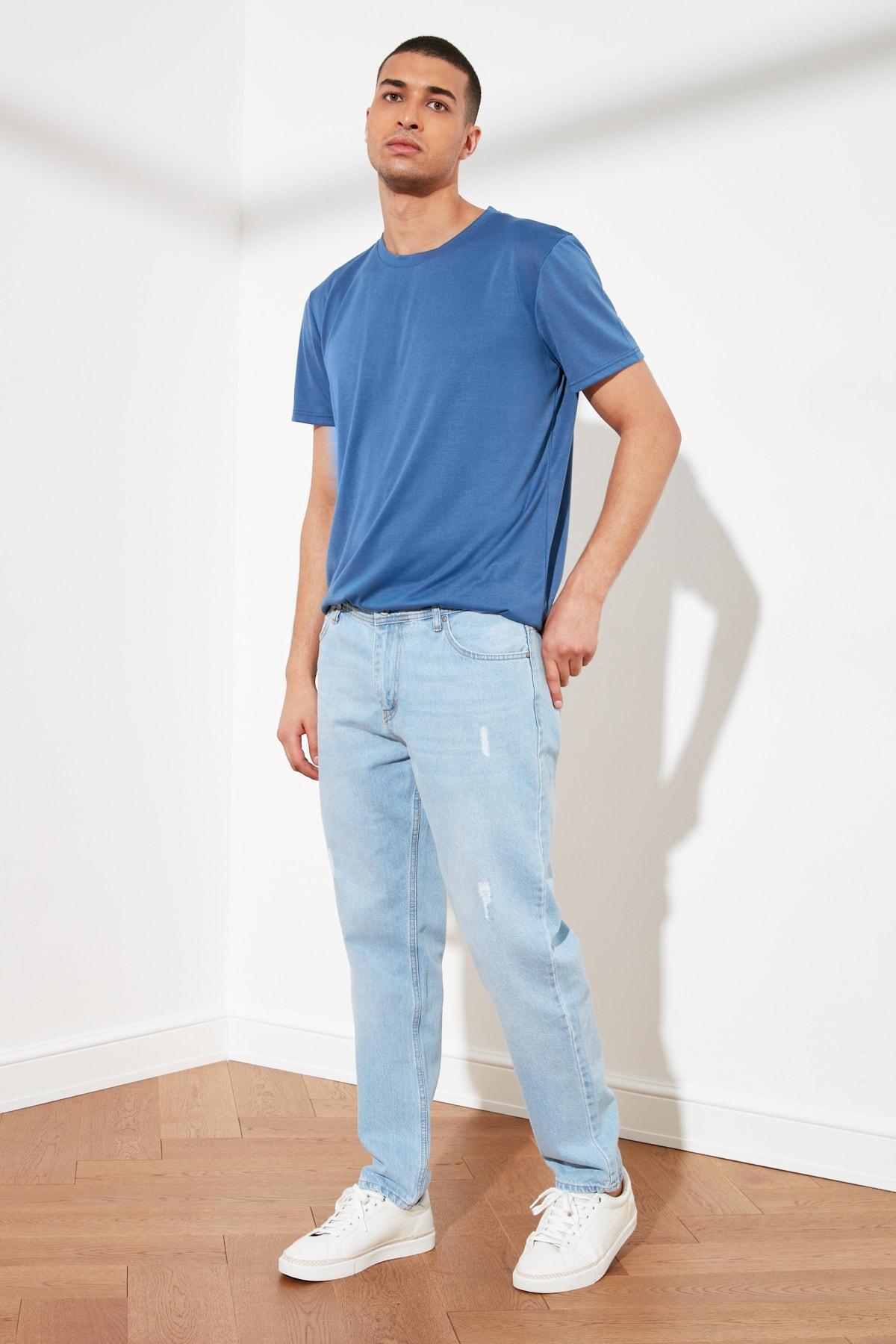 TRENDYOL MAN Mavi Erkek Destroylu Relax Fit Jeans TMNSS21JE0129 1