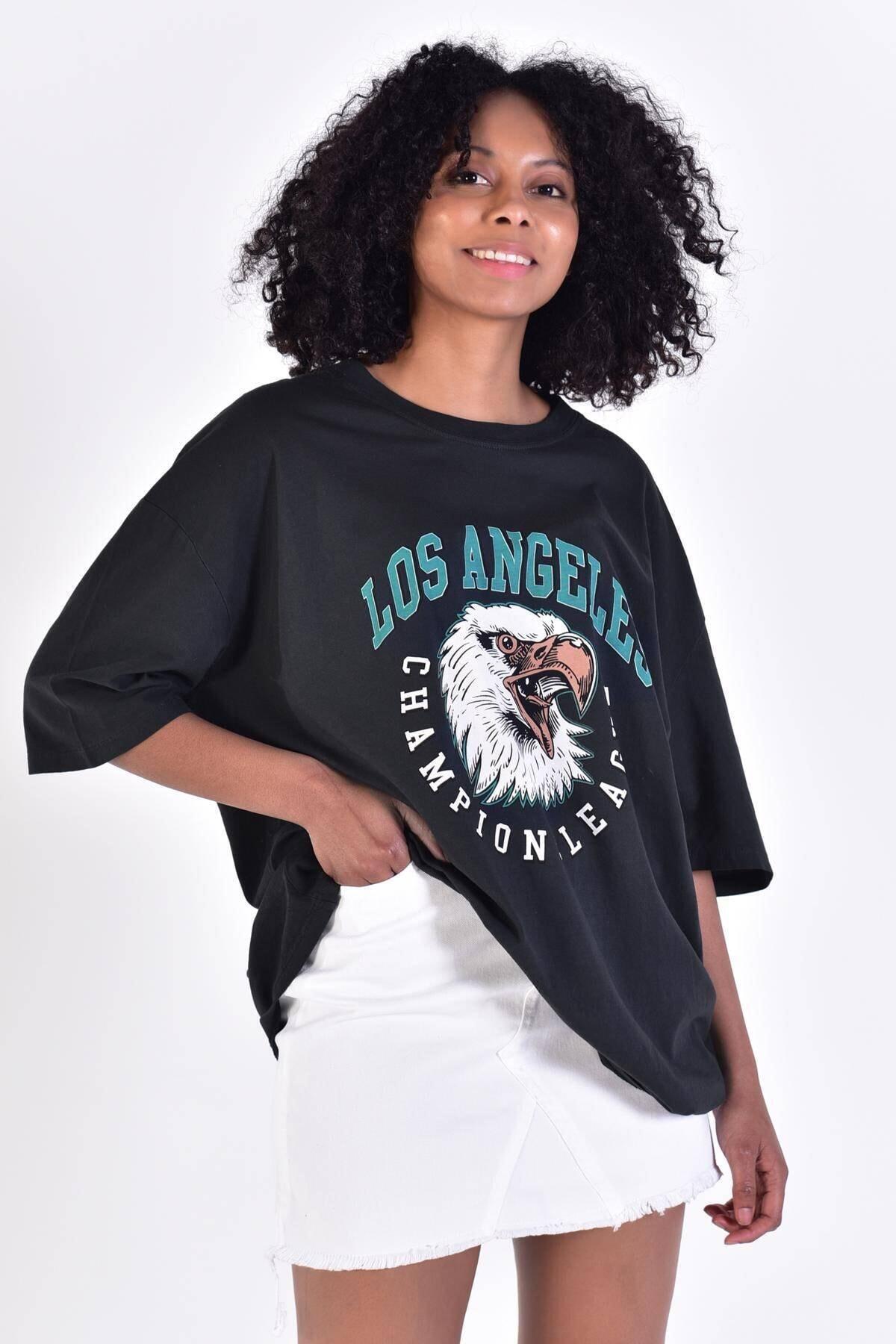 Addax Kadın Füme Baskılı T-Shirt P9420 - C5 Adx-0000022126 1