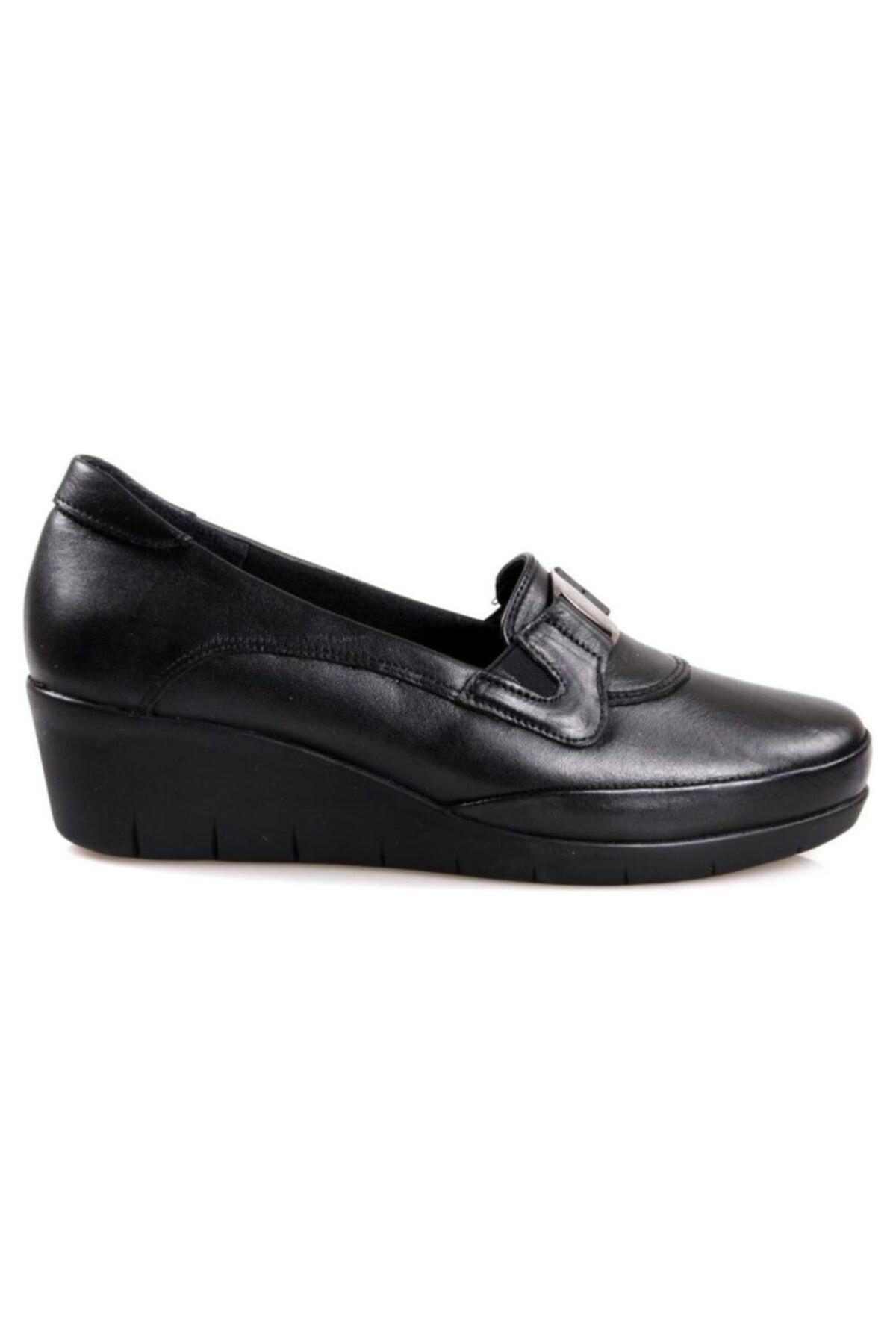 Scavia 116 Siyah Ortapedik Comfort Deri Kadın Ayakkabısı 2