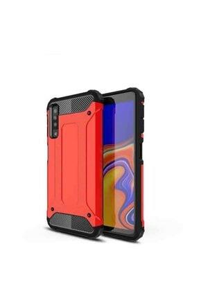Samsung Teleplus Galaxy A50 Dual Layer Tank Cover Kılıf Kırmızı + Nano Screen Protector