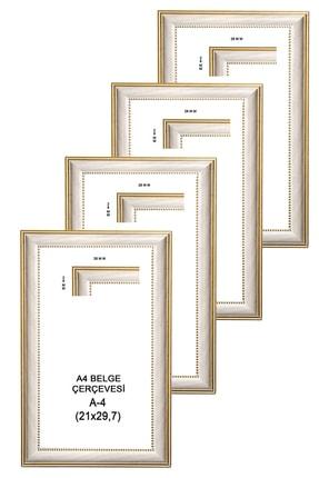 LİONKİNG Eskitme Beyaz Sarı Pas 4 Adet A4 Sertifika Çerçevesi Camlı Model 21x29,7 Cm