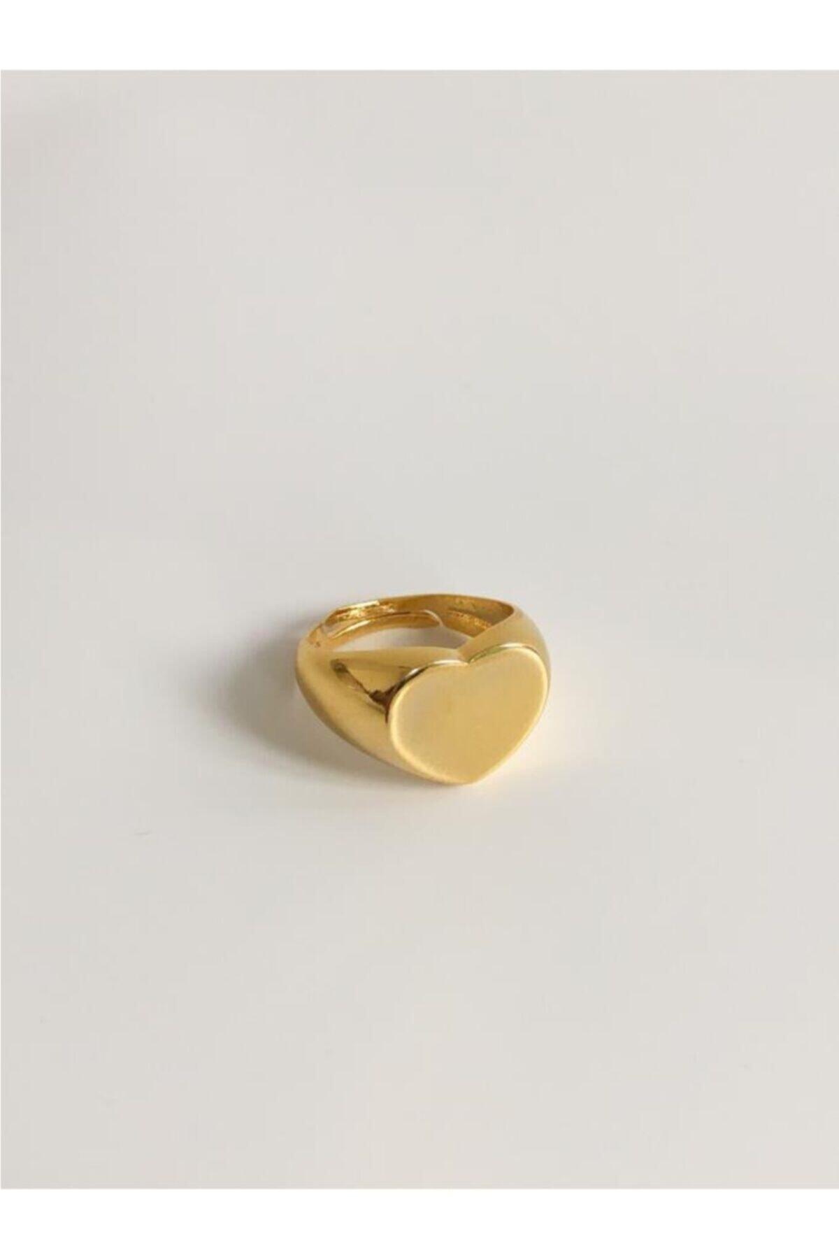 The Y Jewelry Kadın Altın Kalpli Plaka Yüzük 1