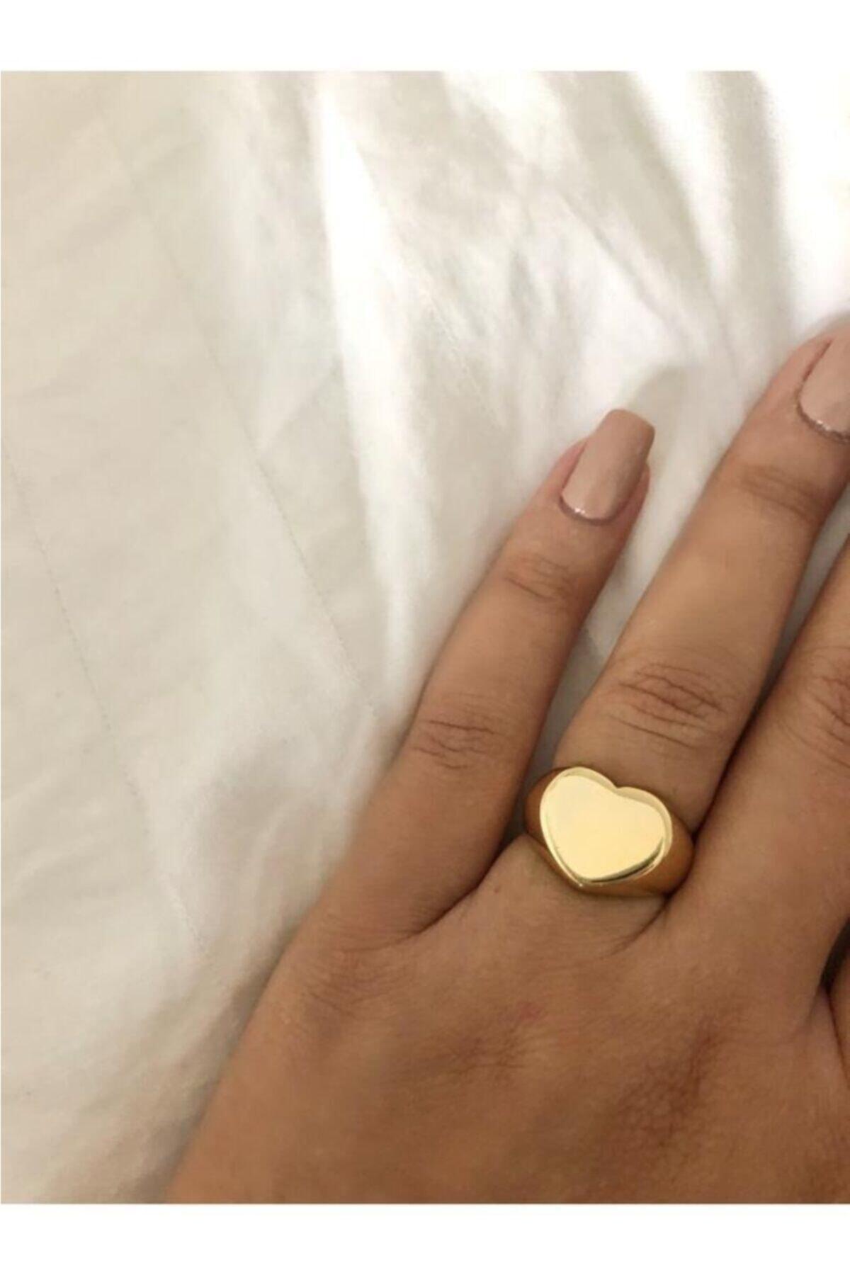 The Y Jewelry Kadın Altın Kalpli Plaka Yüzük 2