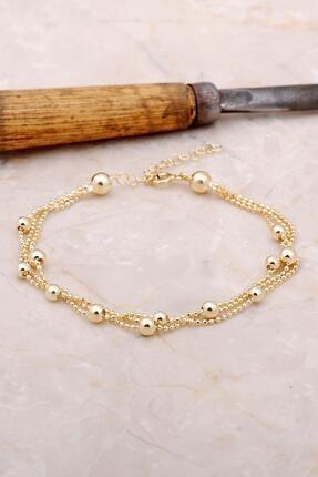 Sümer Telkari Kadın Altın Dorica Yaldızlı Üç Sıra Gümüş Bileklik 3382