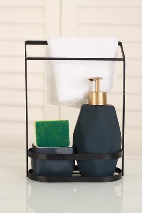 ACAR Belly Seramik Metal Stand Süngerli Mat Sıvı Sabunluk - Lacivert