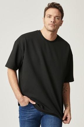 AC&Co / Altınyıldız Classics Erkek Siyah Günlük Rahat Yuvarlak Yaka Kısa Kollu Oversize Sweatshirt