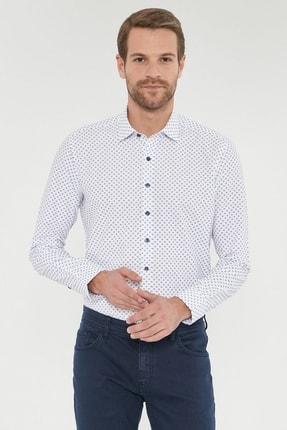 ALTINYILDIZ CLASSICS Erkek Lacivert Tailored Slim Fit Baskılı Gömlek
