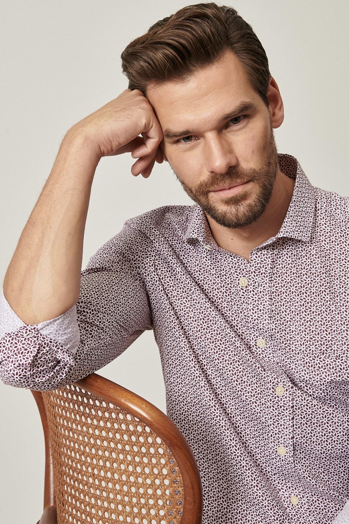 ALTINYILDIZ CLASSICS Erkek Bordo Tailored Slim Fit Dar Kesim Küçük Italyan Yaka Baskılı Gömlek 2