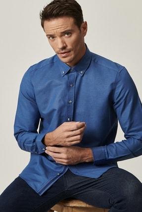 AC&Co / Altınyıldız Classics Erkek İndigo Tailored Slim Fit Dar Kesim Düğmeli Yaka Oxford Gömlek