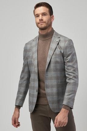 ALTINYILDIZ CLASSICS Erkek Gri-Kahverengi Slim Fit Desenli Ceket