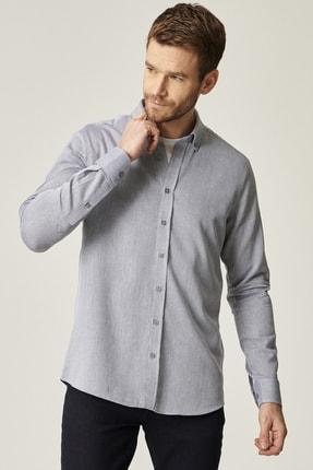 AC&Co / Altınyıldız Classics Erkek Lacivert Tailored Slim Fit Dar Kesim Düğmeli Yaka %100 Koton Gömlek