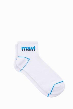Mavi Erkek Logo Baskılı Beyaz Soket Çorap 092523-620