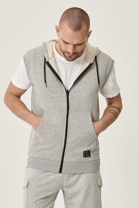 AC&Co / Altınyıldız Classics Erkek Açık Gri Slim Fit Günlük Rahat Spor Sweatshirt Yelek