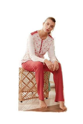 Feyza Pijama Kadın Kırmızı Pijama Takımı 3425