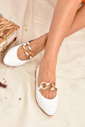 Fox Shoes Kadın Beyaz Zincirli Babet K726092809