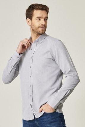 AC&Co / Altınyıldız Classics Erkek Gri Tailored Slim Fit Dar Kesim Düğmeli Yaka %100 Koton Gömlek
