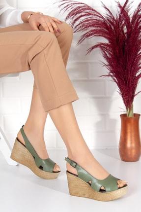LAYRA AYAKKABI Kadın Haki  Dolgu Topuklu Ayakkabı