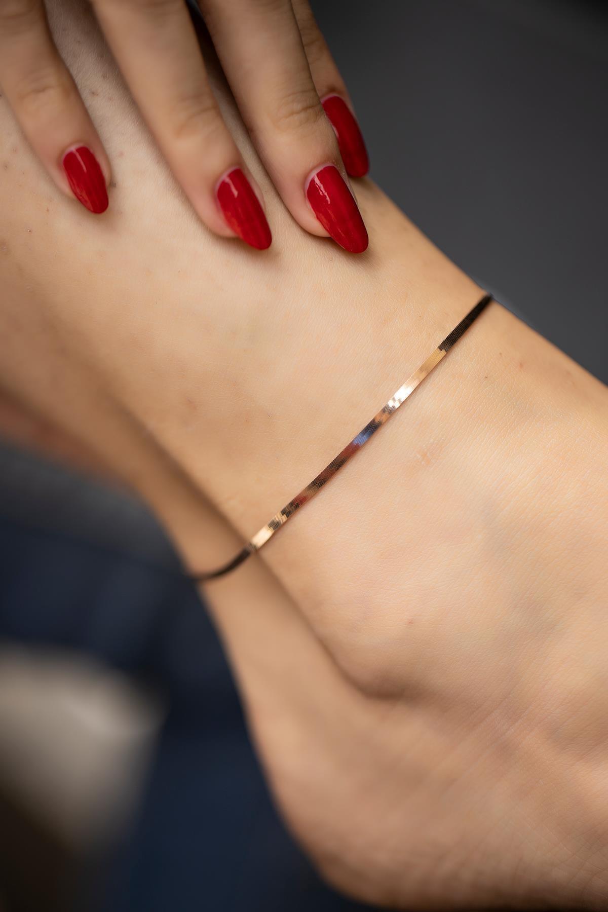 İzla Design Yassı Zincir Model Rose Kaplama Gümüş Italyan Halhal 1