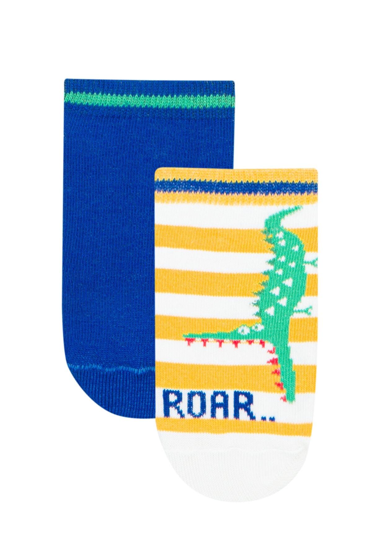 Penti Beyaz - Mavi Erkek Çocuk Roar 2li Patik Çorap 1