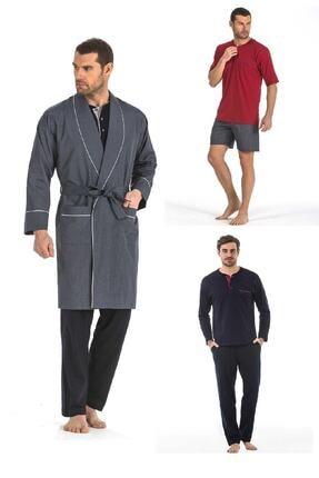 Pierre Cardin 5li Penye Robdöşambr Damat Pijama Set 5560
