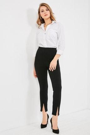 Sateen Kadın Siyah Ön Paça Yırtmaçlı Pantolon  STN768KPA124