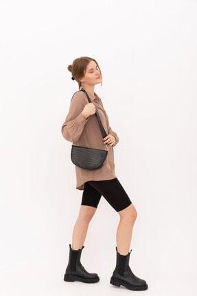 Shule Bags Kadın Siyah Croc Baskı Gondol Çanta