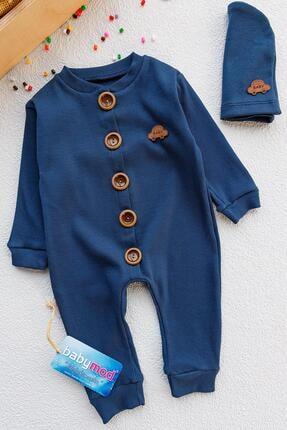 Babymod Erkek Bebek Lacivert Düğmeli Şapkalı Tulum