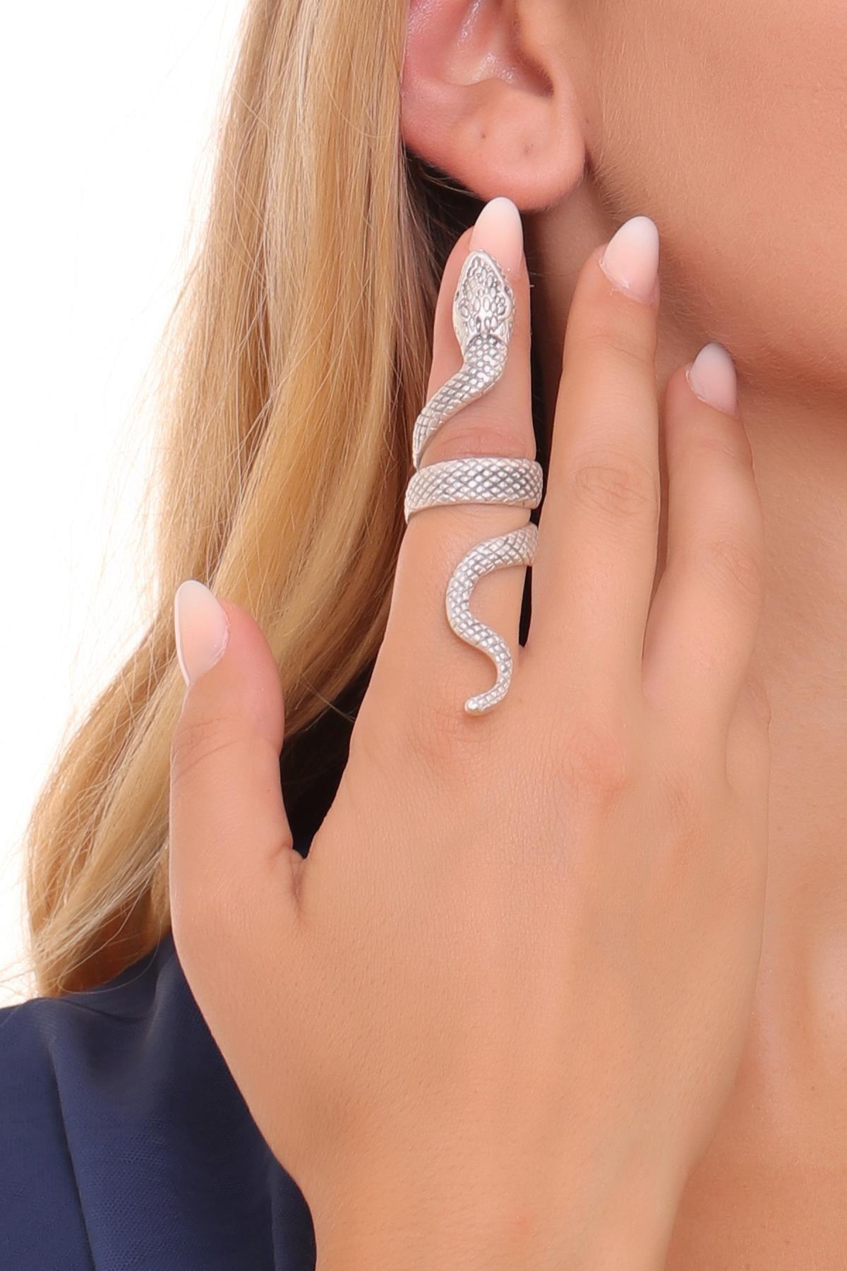 LABALABA Kadın Antik Gümüş Kaplama Dolama Model Yılan Formlu Ayarlanabilir Sağ Parmak Yüzük 1