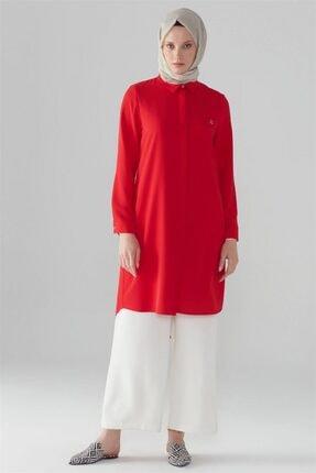 Zühre Kadın  Kırmızı  Gizli Düğme Detaylı Tunik T-0767