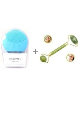 Forever Şarj Edilebilir Mavi Yüz Temizleme Cihazı Ve Jade Roller 2'li Yeşim Taşı Masaj Aleti