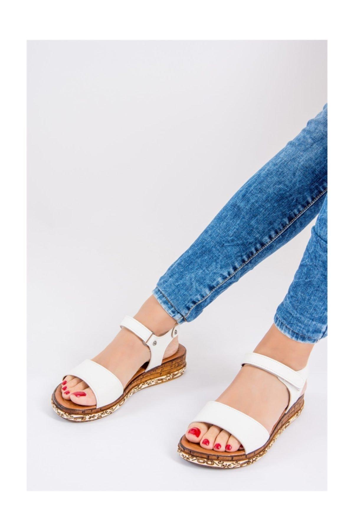 Fox Shoes Kadın Beyaz Sandalet F288061309 1
