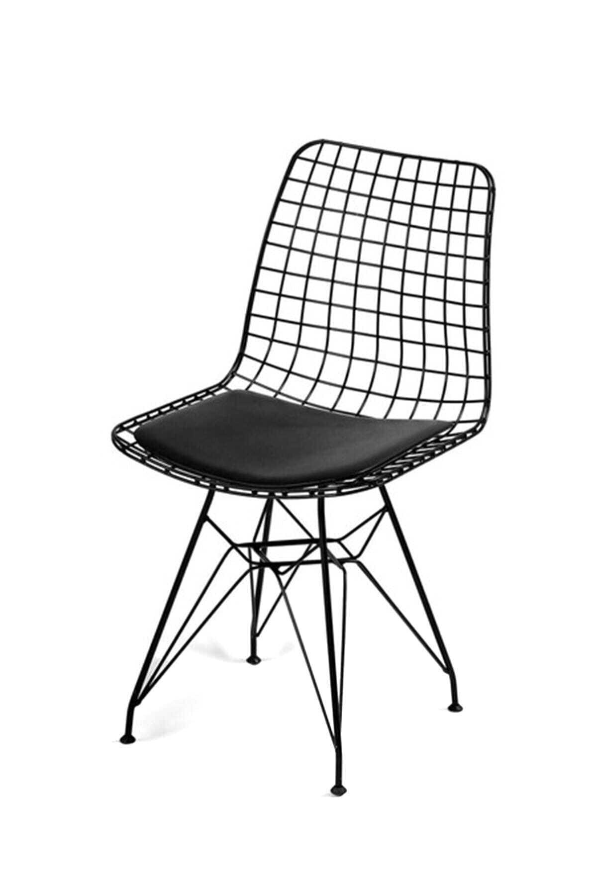 Evdemo Siyah Dekor  Tel Sandalye 1