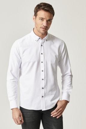 AC&Co / Altınyıldız Classics Erkek Beyaz Tailored Slim Fit Dar Kesim Düğmeli Yaka Gabardin Gömlek