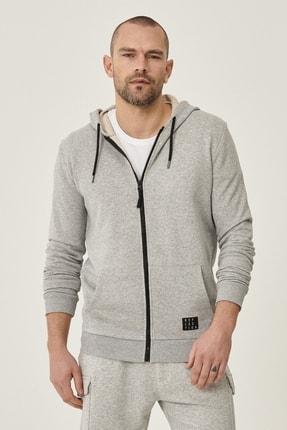 AC&Co / Altınyıldız Classics Erkek Açık Gri Slim Fit Günlük Rahat Fermuarlı Spor Sweatshirt
