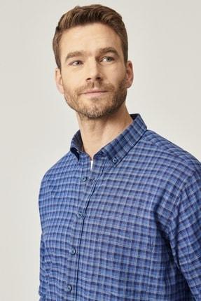 ALTINYILDIZ CLASSICS Erkek Lacivert-Mavi Regular Fit Bol Kesim Düğmeli Yaka %100 Koton Gömlek
