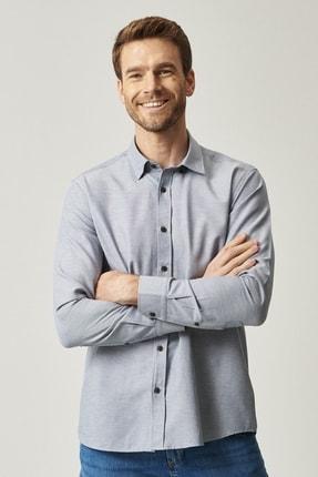 AC&Co / Altınyıldız Classics Erkek Kahverengi Tailored Slim Fit Dar Kesim Düğmeli Yaka Gabardin Gömlek