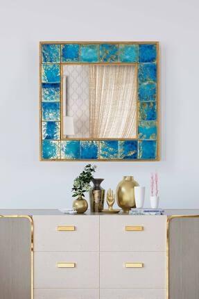 bluecape Napoli Doğal Ağaç 60x60 Cm Çerçeveli El Yapımı Çini Seramik Kaplı Salon Duvar Konsol Boy Aynası