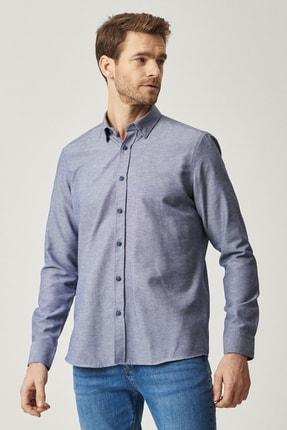 AC&Co / Altınyıldız Classics Erkek Lacivert Tailored Slim Fit Dar Kesim Düğmeli Yaka Oxford Gömlek
