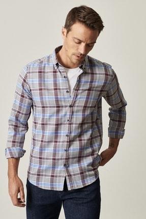 AC&Co / Altınyıldız Classics Erkek ANTRASIT-SAKS Tailored Slim Fit Düğmeli Yaka Kareli Gömlek