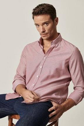 AC&Co / Altınyıldız Classics Erkek Bordo-Beyaz Tailored Slim Fit Dar Kesim Düğmeli Yaka Çizgili Gömlek
