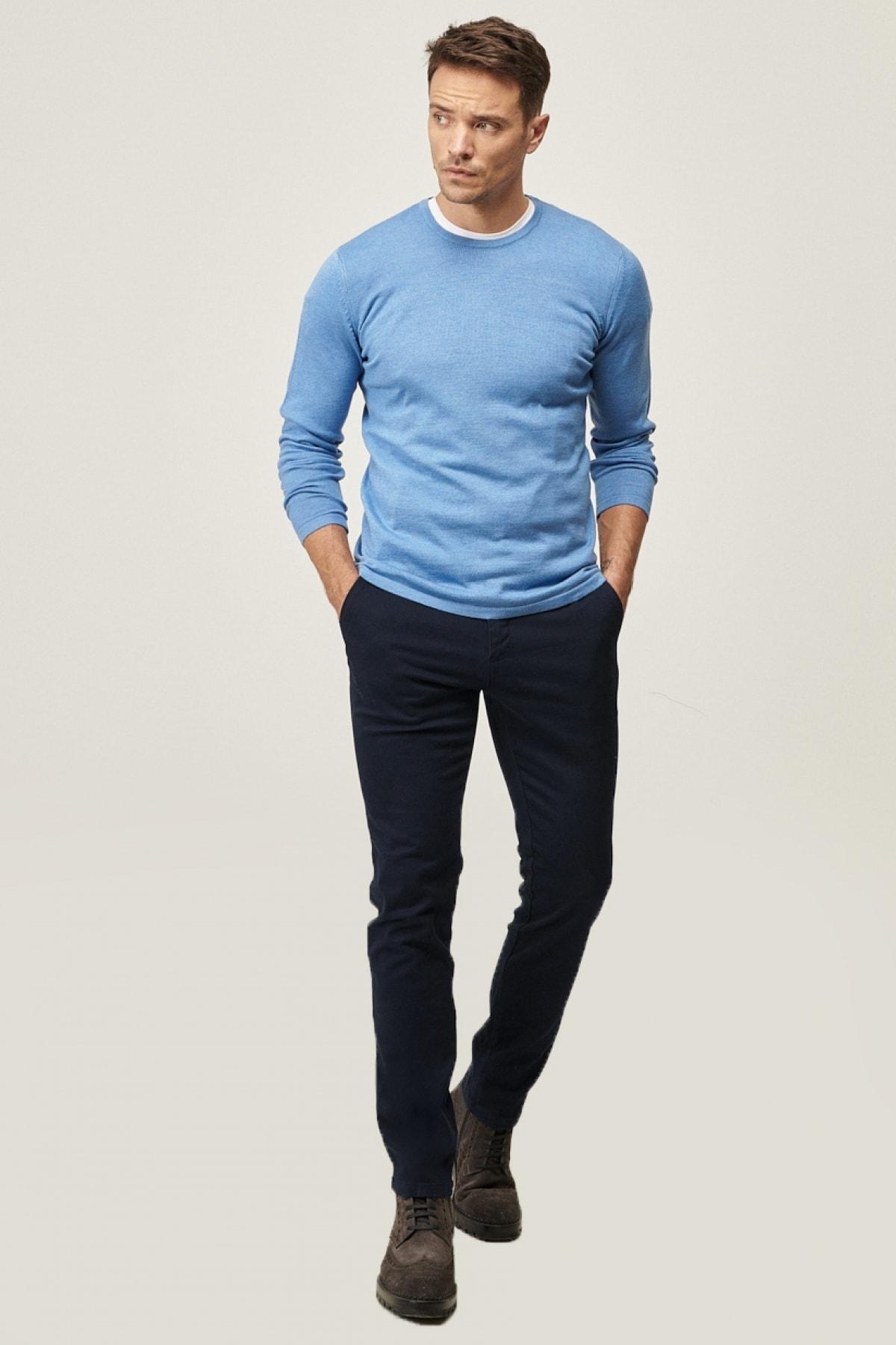 AC&Co / Altınyıldız Classics Erkek Lacivert Kanvas Slim Fit Dar Kesim Yan Cep Chino Pantolon 1