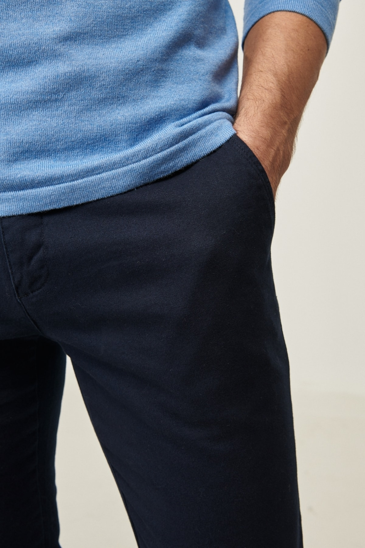 AC&Co / Altınyıldız Classics Erkek Lacivert Kanvas Slim Fit Dar Kesim Yan Cep Chino Pantolon 2