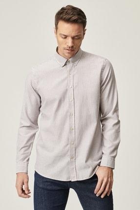 AC&Co / Altınyıldız Classics Erkek Kahverengi Tailored Slim Fit Çizgili Düğmeli Yaka Gömlek