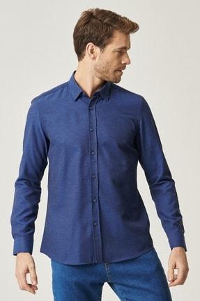 AC&Co / Altınyıldız Classics Erkek Koyu Lacivert Tailored Slim Fit Dar Kesim Düğmeli Yaka Oxford Gömlek