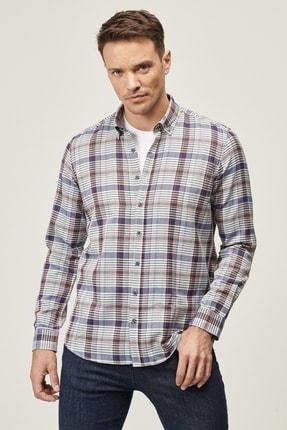 AC&Co / Altınyıldız Classics Erkek HAKI-ORANJ Tailored Slim Fit Düğmeli Yaka Kareli Gömlek